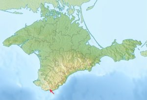 Crimea, the red arrow points to Morcheka