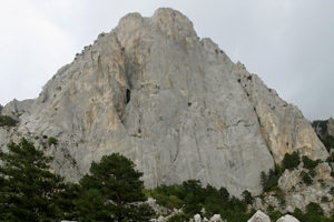 Rock Morcheka, Crimea. The characters of the story are climbing it.